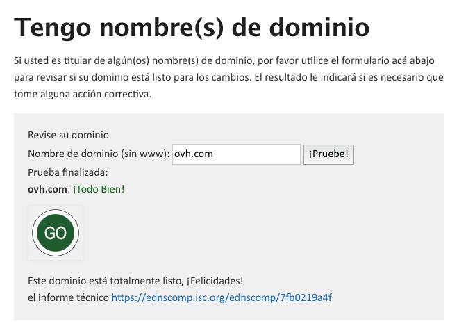 Comprobación DNS dominio
