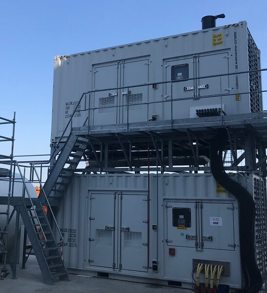 Dos de los diez generadores del datacenter SBG3 de 1250kVA cada uno, con una autonomía de 48horas a plena carga